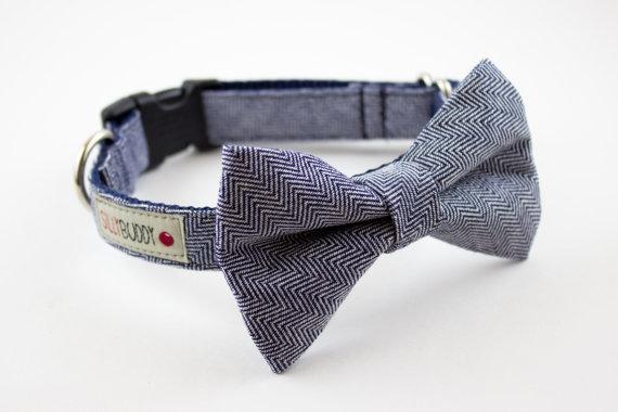 Свадьба - Indigo Herringbone Dog Bowtie Collar