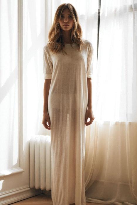Свадьба - Bridal Silk Knit T Shirt Nightgown Sheer Light Honeymoon Wedding Lingerie Sleepwear Silk Knit Lingerie Silk Nightgown