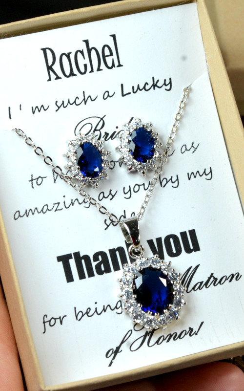 20OFF Navy Bluesapphire Blue Wedding Jewelry Bridesmaid Gift