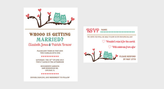 Turquoise And Pink Wedding Invitations: Turquoise Owl Love And