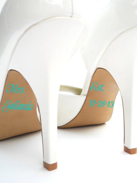 Wedding - Personalized Bridal Accessories - Mrs Established Wedding Shoe Stickers