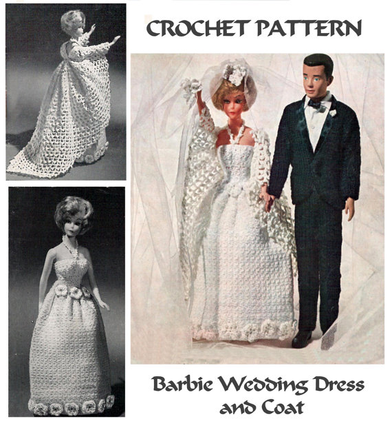 Instant download pdf sixties crochet pattern to make a for How to make a barbie wedding dress