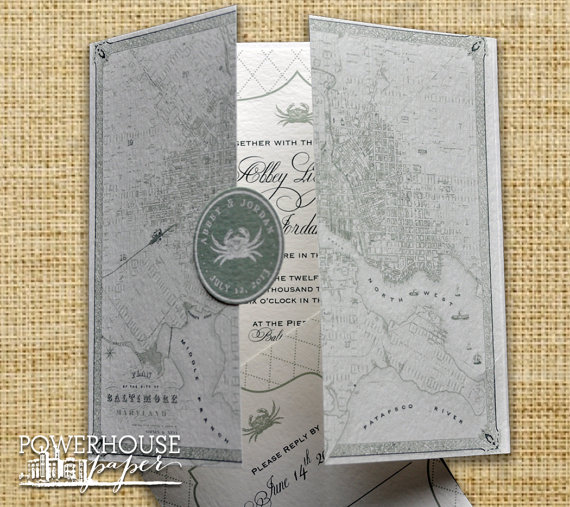 زفاف - Baltimore Vintage Map Wedding Invitation or Save the Date
