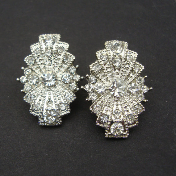 gold white item diamond deco style earrings stud art th filigree
