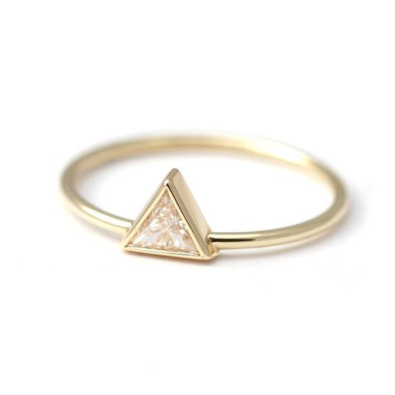 Wedding - 0.2 Carat Trillion Diamond Ring - Diamond Engagement Ring - 18k Solid Gold