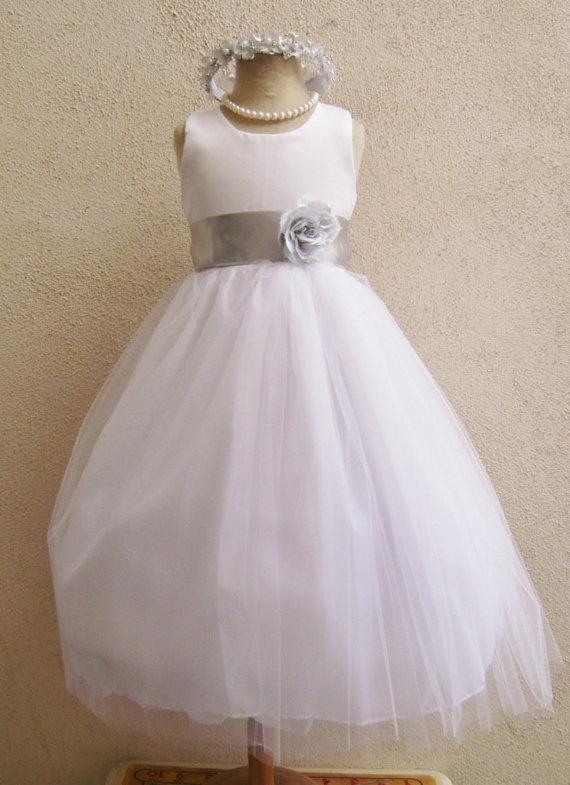 ff1557ea9d8 Flower Girl Dresses - WHITE with Silver (FD0RBP) - Wedding Easter Junior  Bridesmaid - For Baby Infant Children Toddler Kids Teen Girls
