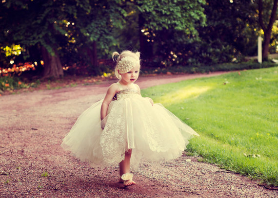 Ivory Flower Girl Dress- Lace And Ivory Flower Girl Dress-Vintage ...