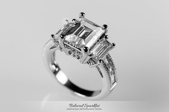 Emerald CZ Engagement Ring, 5 Carat Emerald Cut Engagement Statement Ring,  Vintage Classic Cubic Zirconia Bridal Wedding Anniversary Ring