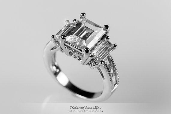 Carat Emerald Cut Cz Ring