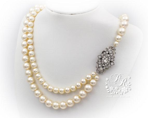 زفاف - Wedding Necklace Double strands Swarovski Pearl & Rhinestone Bridal Necklace Wedding Jewelry Wedding accessory Rhombus