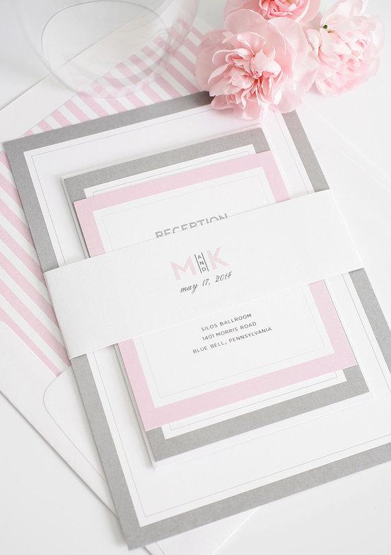 Gray And Pink Wedding Invitation Unique Romantic