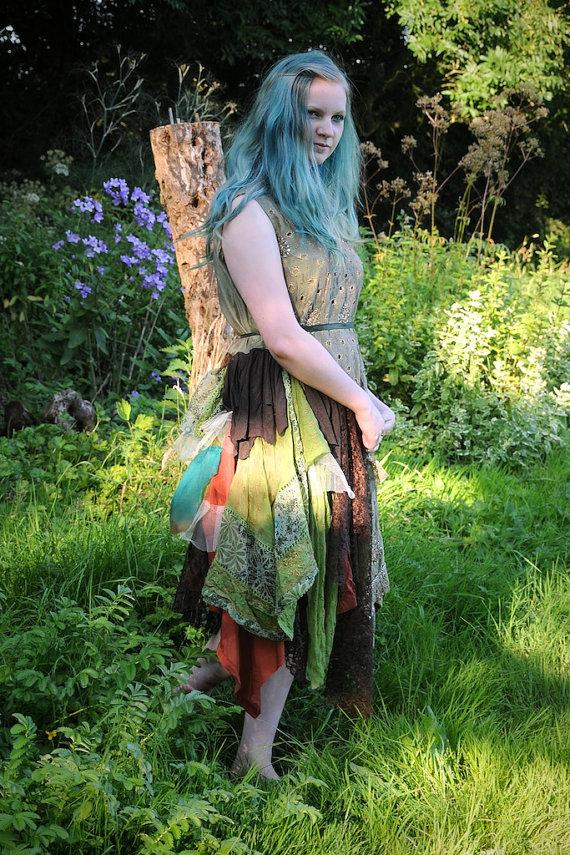 a573bdbdd18 Woodland Fairy Dress, Autumn Fall Wedding Dress, Green & Brown Silk ...