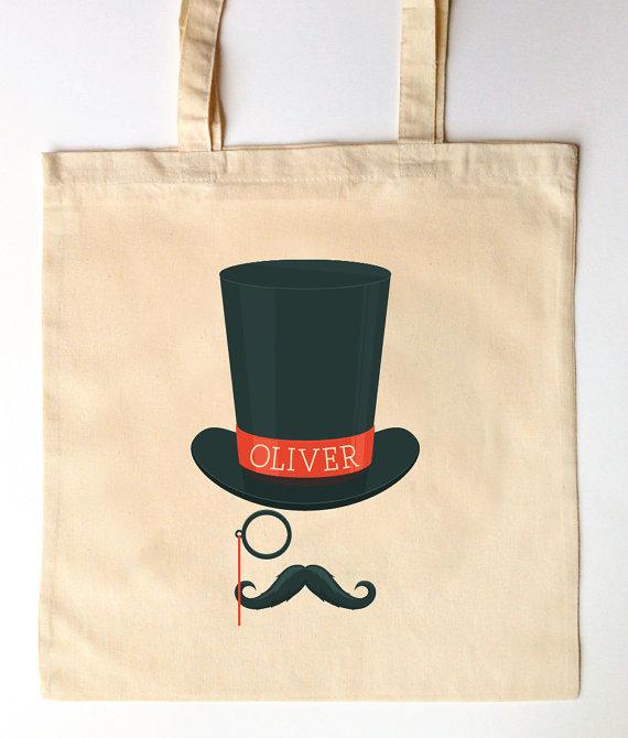 Hochzeit - Custom Printed Ring Bearer Groomsmen Tote Bag for Weddings - Ringbearer Gift - Top Hat Tote Bag