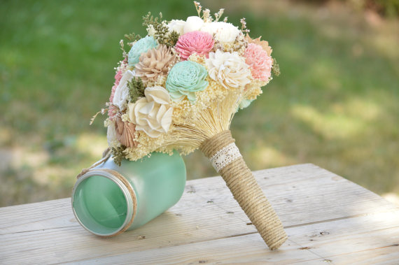 Custom Large Wedding Bridal Bouquet Sola Flowers And Dried Pink Ivory Tan Mint