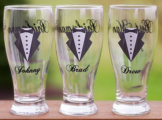 Hochzeit - Pilsner Beer glasses for Groom Groomsmen, Best Man, Gold, Dark Grey, Ice Blue. This listing is for one glass