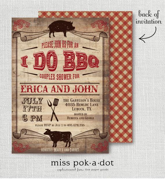 Wedding - rustic I Do BBQ barbecue couples wedding shower invitation