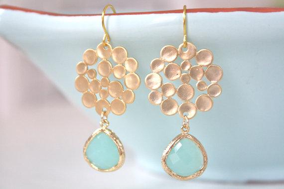 Свадьба - Gold Earrings, Tiffany Blue Earrings, Tiffany Blue Wedding, Bridesmaids Jewelry, Pastel Earrings