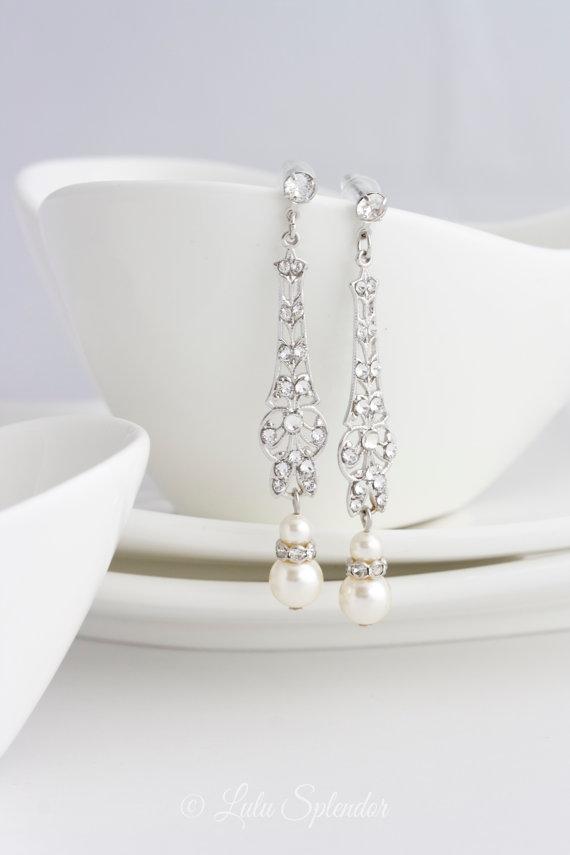 wedding jewelry bridal earrings long art deco dangle earrings with pearl and rhinestone vintage. Black Bedroom Furniture Sets. Home Design Ideas