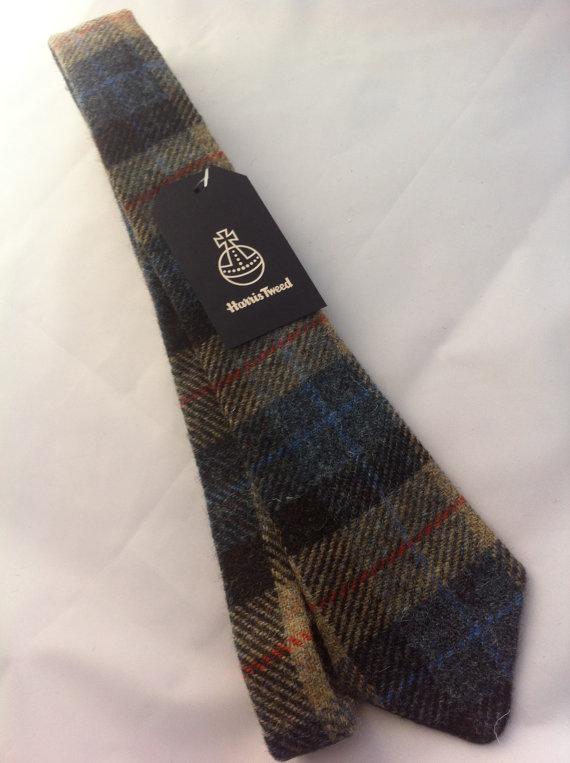Hochzeit - Mans Harris tweed tie made in Scotland gift vegan Scottish tartan Scottish wedding groomsmen corporate