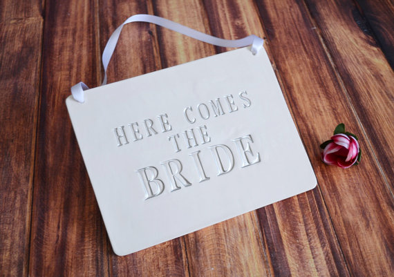 Wedding - Rectangular Here Comes The Bride Wedding Sign - to carry down the aisle and use as photo prop