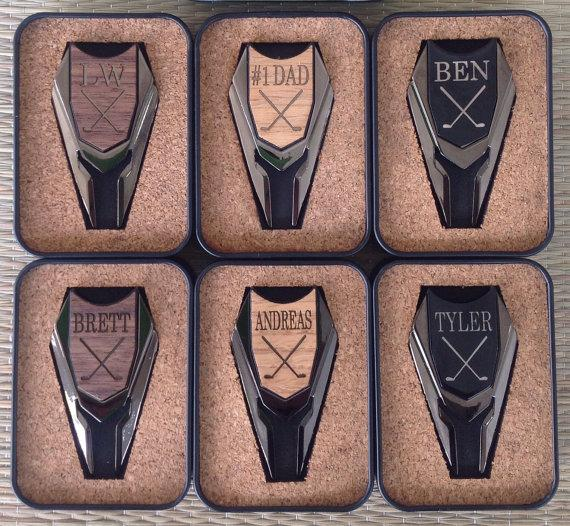6 Personalized Groomsmen Gifts Wood Golf Ball Marker Divot Remover For Best Man Gift Father Of The Bride