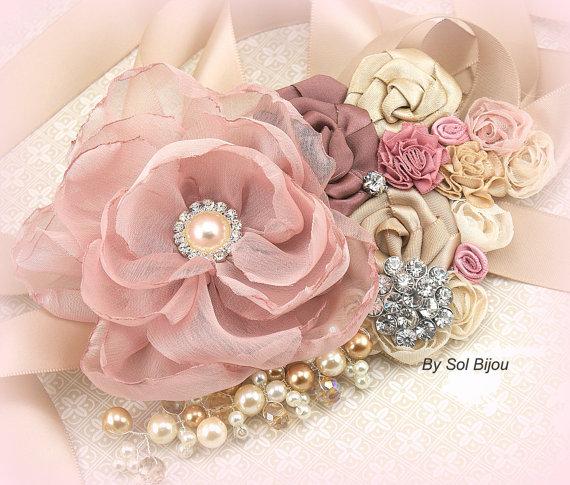 زفاف - Bridal Sash- Wedding Sash in Dusty Rose, Rose, Champagne, Tan and Gold- Vintage Escape