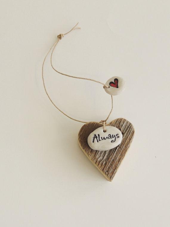 Hochzeit - Rustic Wood Heart, Rustic Bouquet Charm, Always, Reclaimed Wood Heart, Lovers Ornament, Wine Bottle Tag, Reclaimed Wood Heart, Rustic Heart,