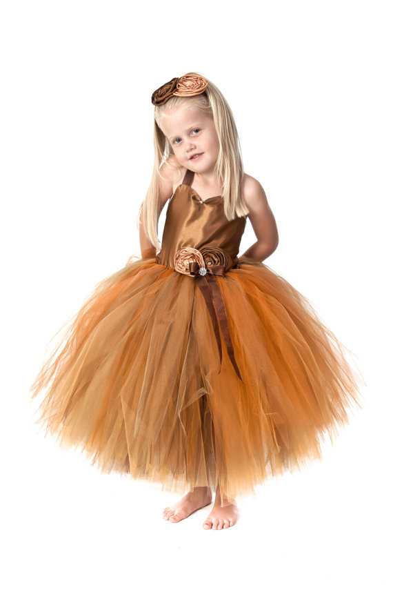Mariage - fall flower girl dress, tutu dress, fall tutu dress