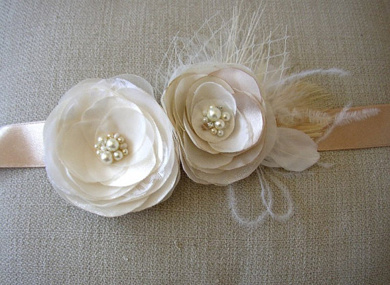 Wedding - Ivory Wedding Sash - Ivory White Champagne Bridal Sash - Floral Wedding Belt - Bridesmaids - Feather Pearls Rhinestones Sash