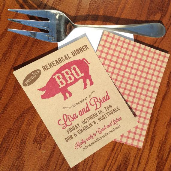 Rehearsal Dinner BBQ Invites Rustic Wedding Shower Barbecue Barbeque Invitations