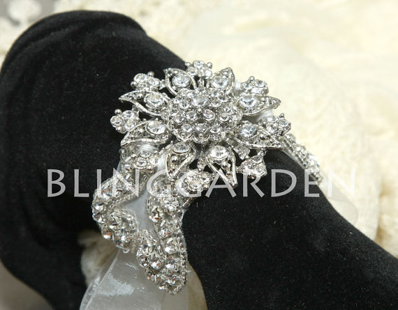 Mariage - Vintage Style Wedding Bridal Jewelry Rhinestone Crystals Organza Ribbon Bracelet Bangle,Flower Bouquet Wrap