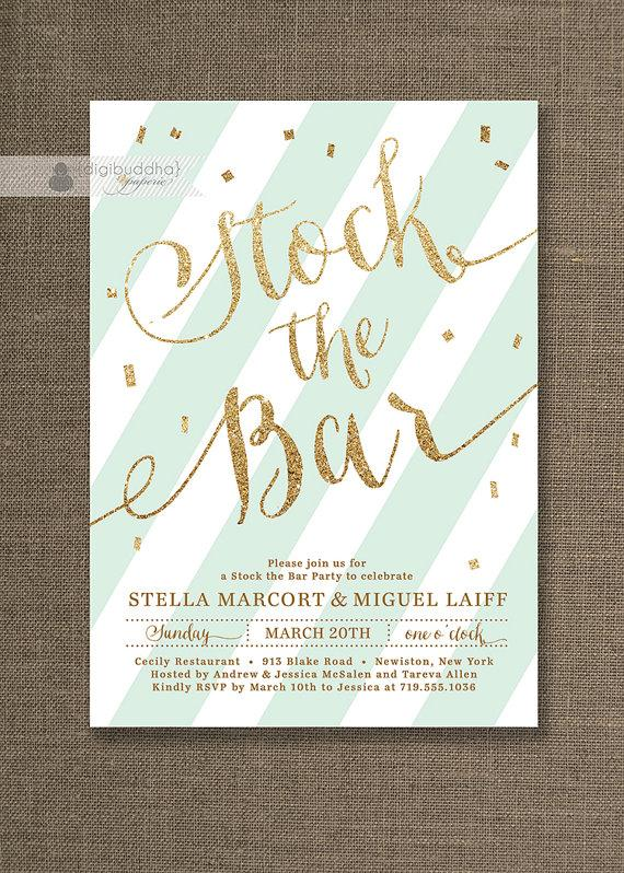 Gold Glitter Stock The Bar Invitation Engagement Party Stripes Mint