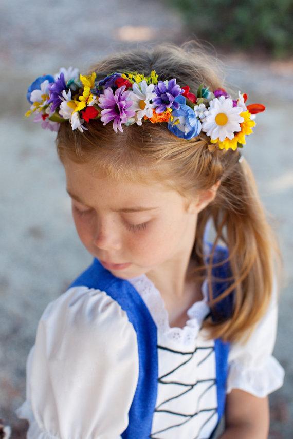 زفاف - Flower Girl circlet -Once Upon a Time- Wedding accessories silk floral Crown -AmoreBride- Hair Wreath Bridal party pink blue yellow Halo