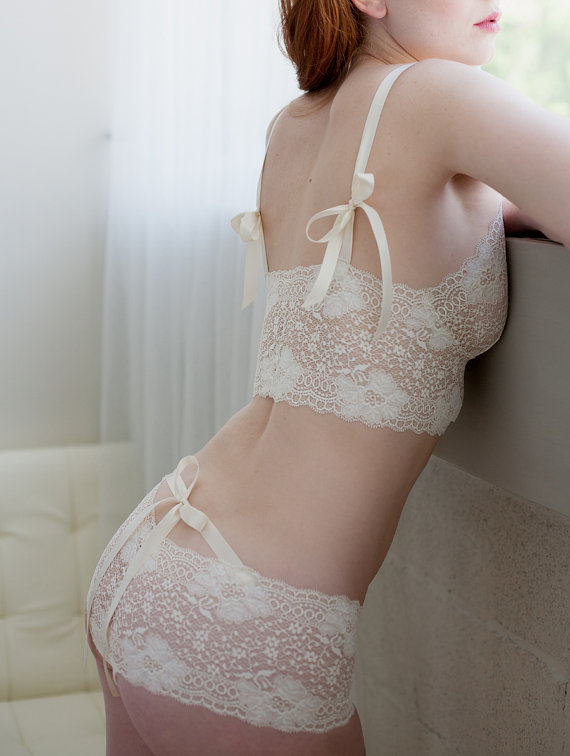 Свадьба - Bridal Panties In Ivory French Lace With Satin Ribbon - 'Sugarberry' Style Underwear - Made To Order Lingerie