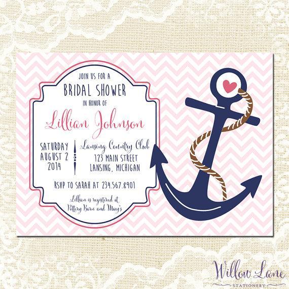 Mariage - Nautical Bridal Shower Invitation - Anchor Bridal Shower Invite - Pink Navy Chevron Nautical Wedding Shower Invitation - 1197 PRINTABLE