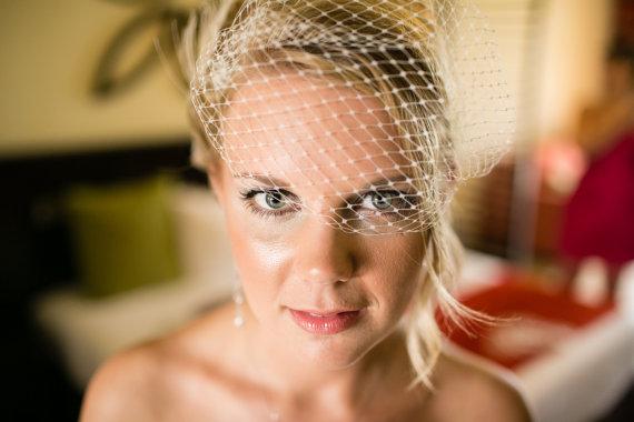 Свадьба - Wedding Bridal Veil French Net Bandeau Bridal Veil, White, Ivory, or Black, Wedding Veil, Small Veil