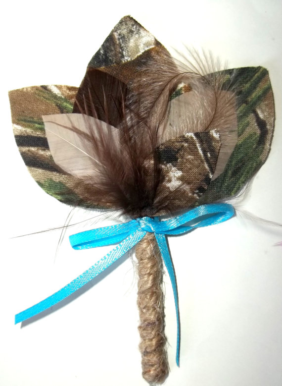 Mariage - Wedding Camouflage Boutonniere- Camo Bride, green, tan taupe, brown - camo, hunting, rustic wedding, mens boys