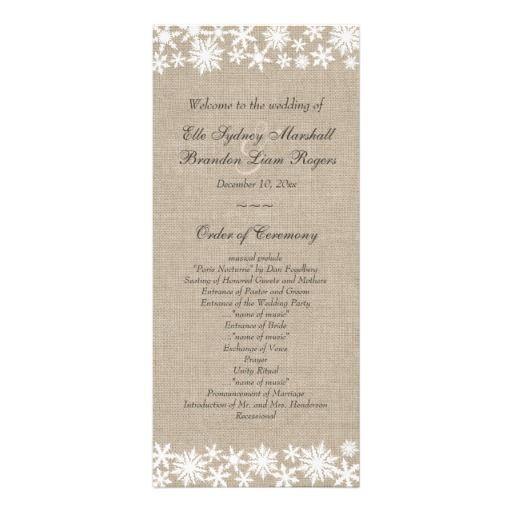 winter wedding winter lace on burlap wedding program 2230152