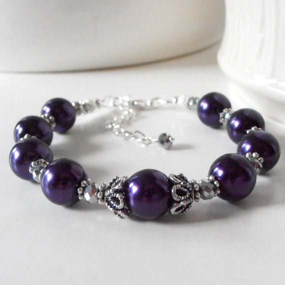 زفاف - Dark Purple Pearl Bridesmaid Bracelets Bridesmaid Gift Idea Lapis Weddings Beaded Jewelry Antiqued Silver Bridal Party Sets Guinevere