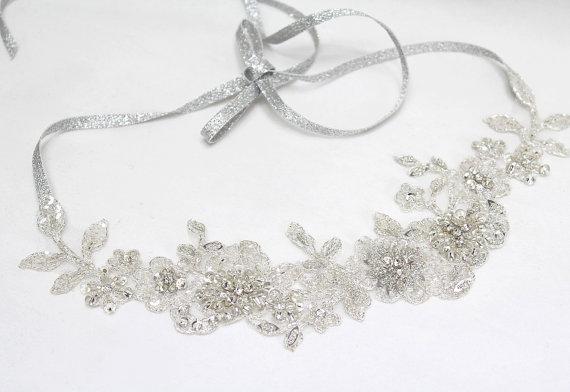 Mariage - Bridal headband, wedding headband, lace headband, bridal hair accessory, bridal headpiece, crystal hair band, prom headband