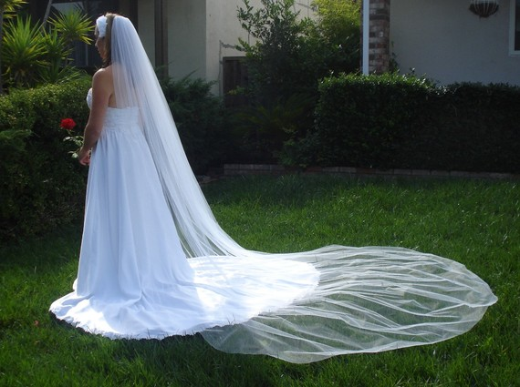 Wedding - Cathedral Length One Tier Bridal Veil 120 inches In Ivory or White - READY TO SHIP in 3-5 Days