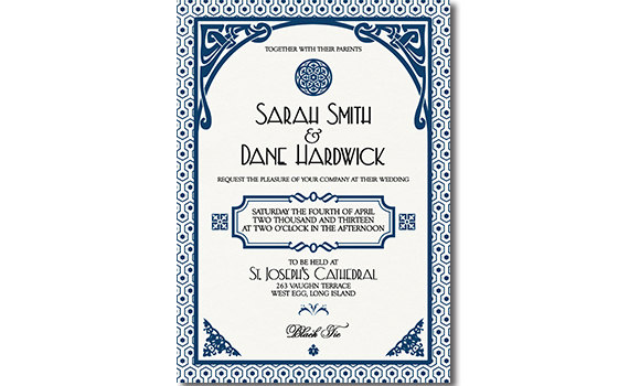 Gatsby Wedding Invitation Art Deco Blue Classic Denim Dark Blue Navy