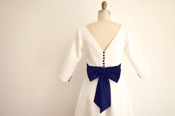 Свадьба - Custom Make Vintage Audrey Boat Neckline Long Sleeves Wedding Dress Ivory Satin/Navy Blue Bow Sash V Back Bridal Gown