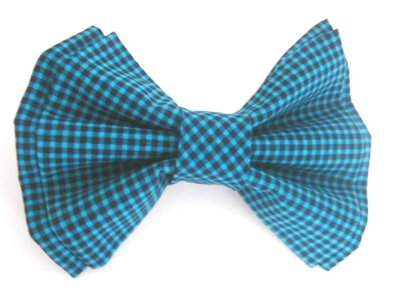 Свадьба - Dog Collar Bow Tie Small Medium Large Removable Blue and Black Checkered Bow Tie
