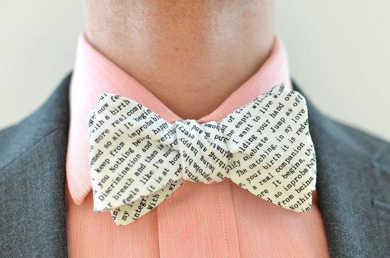 Свадьба - Men's Bow Tie in Text- freestyle wedding groomsmen bowtie neck self tie black and white writing type