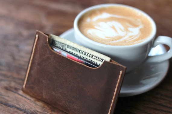 Hochzeit - Leather Wallet Sleeve - Best Groomsmen Gifts - Holds your cards and a little bit of cash - 008 - Perfect Birthday Present