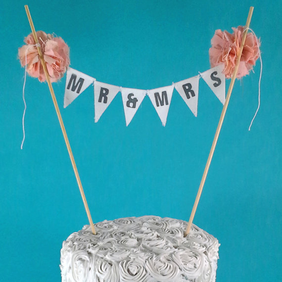 "زفاف - Cake banner, Peach wedding cake bunting,  ""Mr & Mrs"" Banner B168 - shabby chic wedding cake topper"