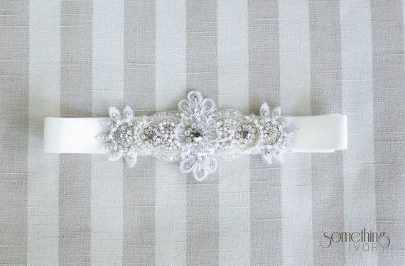 زفاف - GEMMA - Beaded Bridal Sash, Wedding Belt
