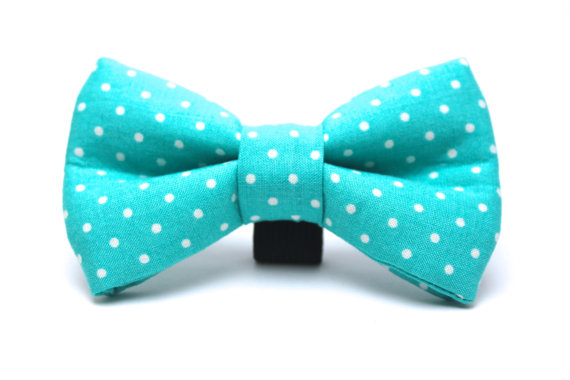 Свадьба - Dog Bow Tie, Dark Teal Dog Bow Tie, Doggie Bow Tie, Polka Dot Dog Bow Tie