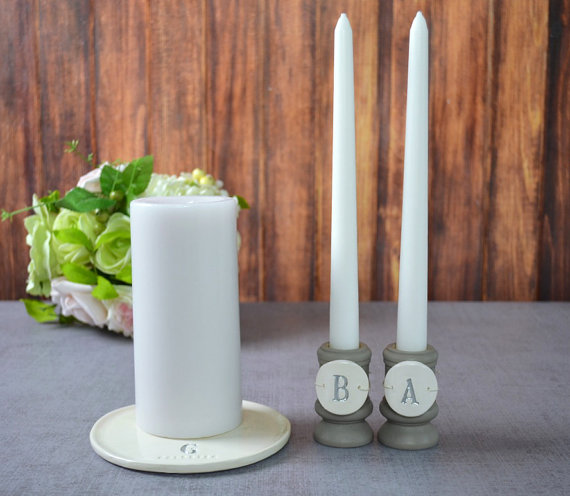 Свадьба - Round PERSONALIZED Unity Candle Ceremony Set - with tiles on candle holders